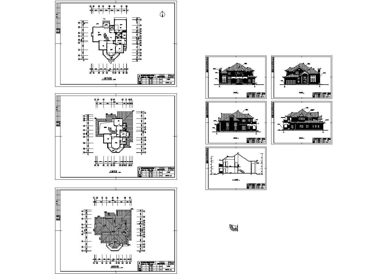 上海某二层住宅别墅建筑设计cad图纸,共8张图片1