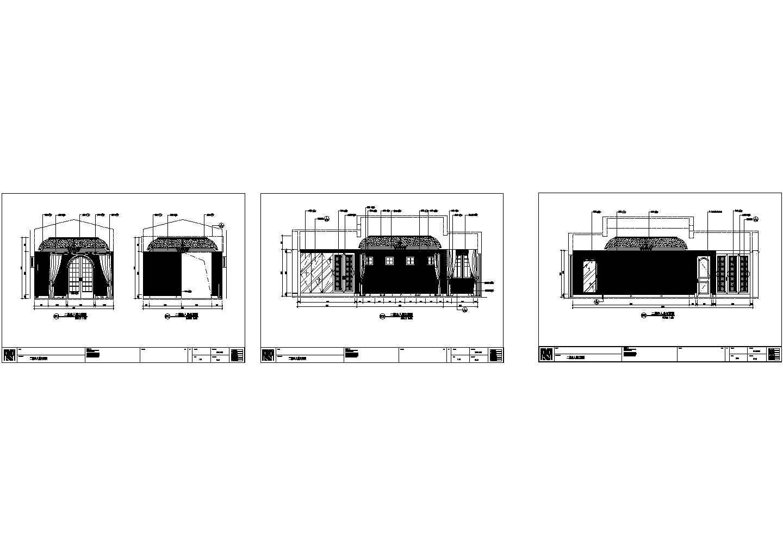 二层欧式别墅主人房立面施工cad图,共三张图片1