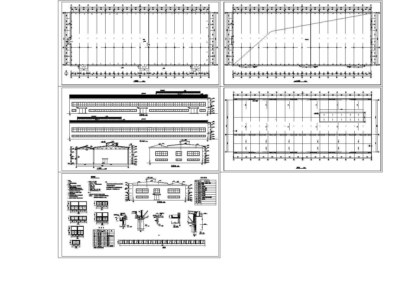 某3497.7平方米混凝土排架结构连跨厂房建筑设计cad施工图(含设计说明)图片1