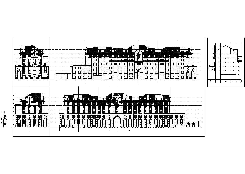 一套联排大别墅cad立面图(共5张)图片1