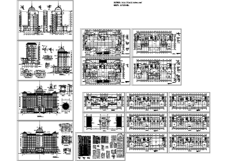 十层欧式行政办公楼建施cad图,共十七张图片1