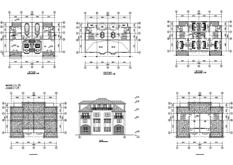 2层欧式别墅方案设计建施cad图,共六张图片1