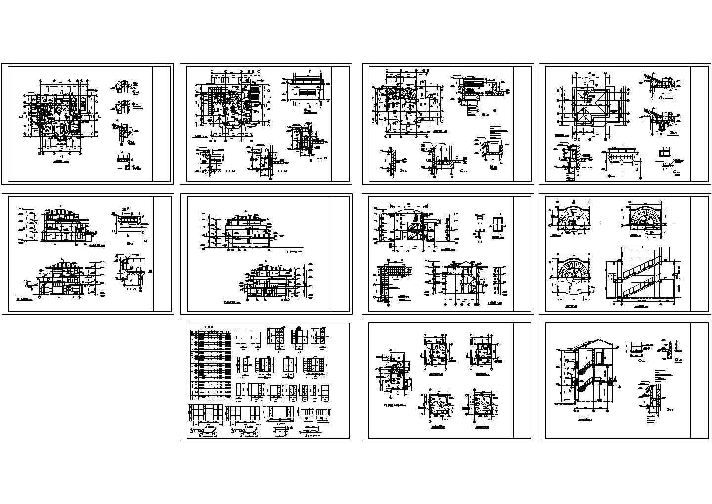 某三层别墅全套建施图(共11张图纸)图片1