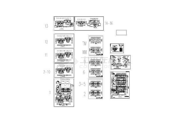 7层南方住宅楼给排水设计图(长AB座60米EF座42米 宽AB座19.2米EF座10米)-图一