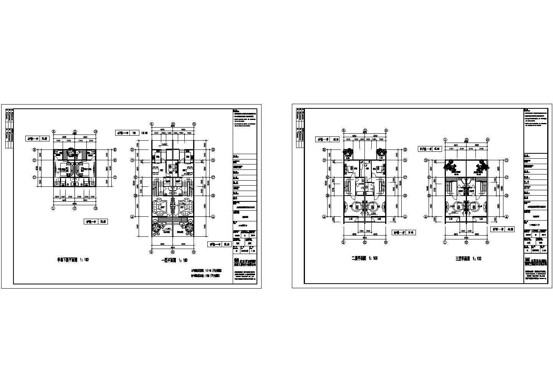 江苏某经济型三层别墅建筑设计cad图纸,共2张图片1
