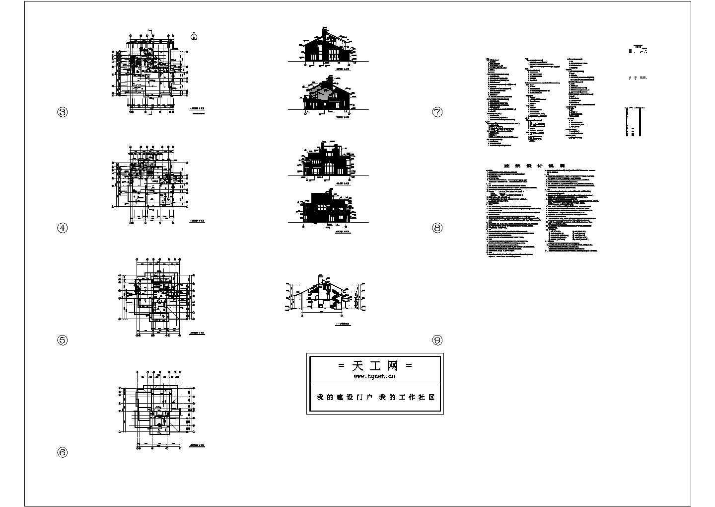 3层复式住宅楼装修平面设计建施cad图纸图片1