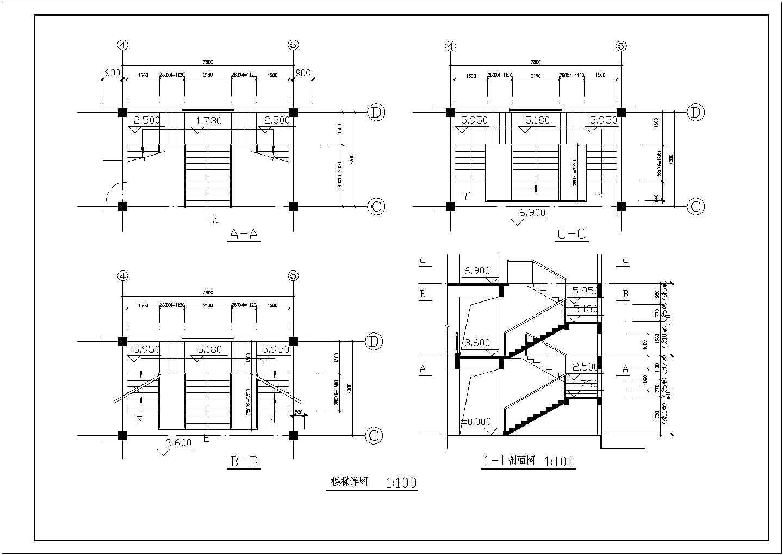 长7.8米 宽4.3米 三层楼梯详图CAD图图片1