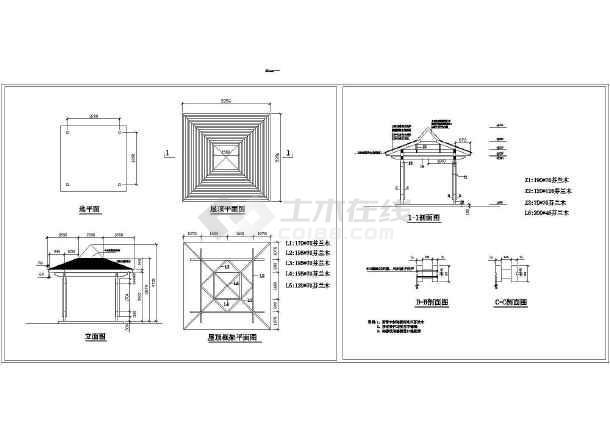 某地方形园林进口芬兰木亭设计CAD施工图-图一