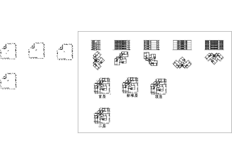 某高层居民住房楼cad平面图图片1