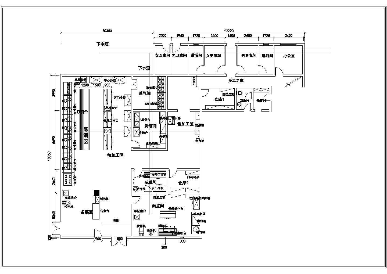 星级酒店厨房CAD平面图图片1