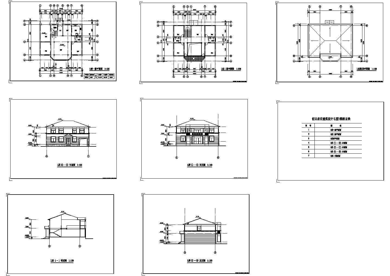 创业农庄L型二层别墅建筑设计cad图纸,共8张图片1
