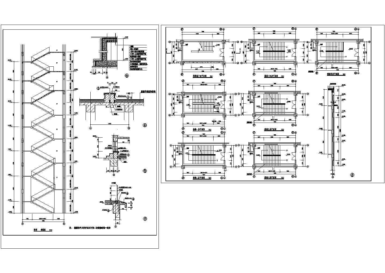 长7.8米 宽4米 六层楼梯详图CAD图图片1