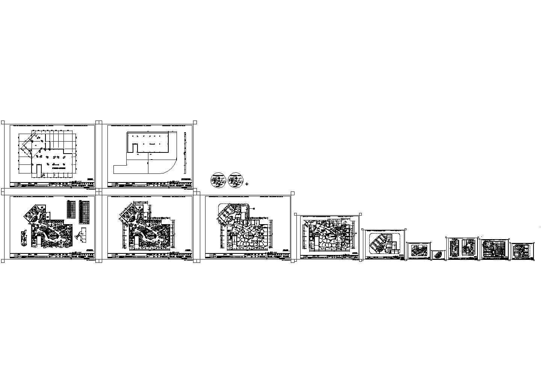 领袖咖啡馆地平面布局施工cad图,共十二张图片1