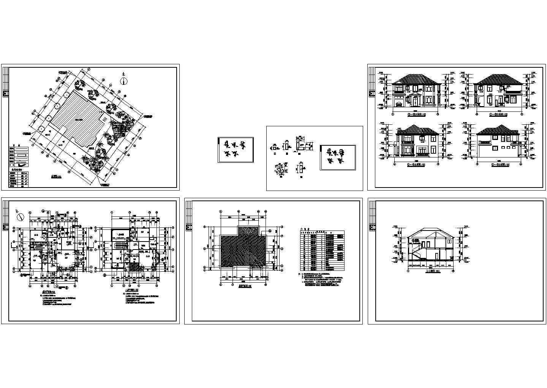 B102型别墅建筑结构设计cad图,共3张图片1