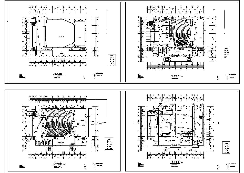 某地4层6956平米影剧院建筑设计CAD平面图,共四张图片1