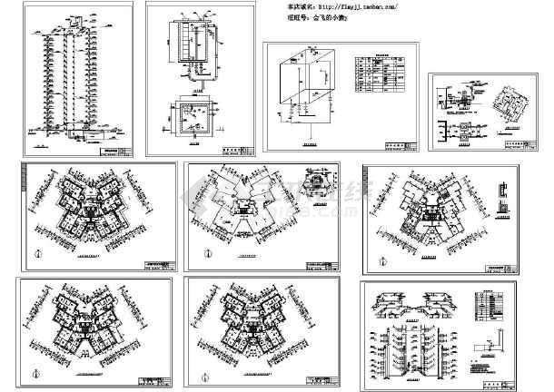 某18层蝶形(1LT2DT8户)住宅楼消防采暖施工图纸(标注明细)(长40米 宽40米 )-图一