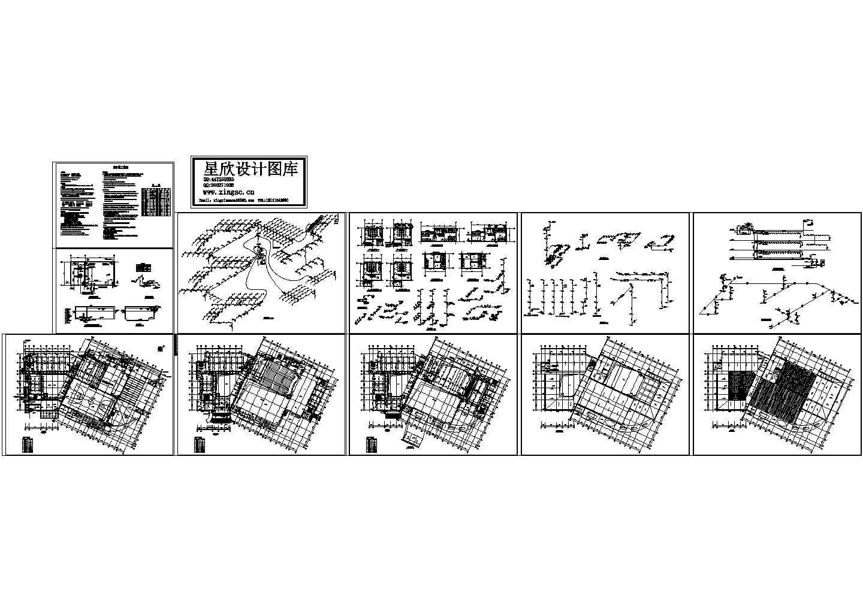 某镇文化中心给排水设计cad图纸,含施工说明图片1
