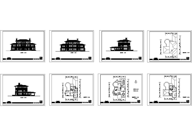 昆山某三层住宅别墅建筑设计cad图纸,共8张图片1