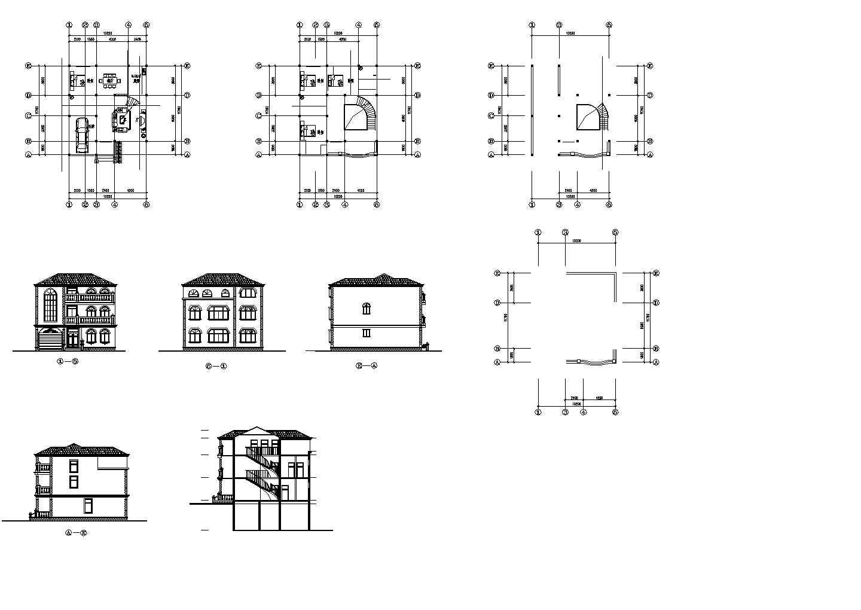 2层欧式别墅装饰设计建施cad图纸图片1