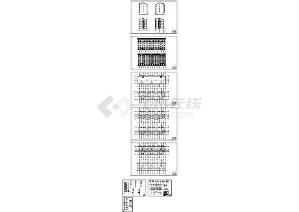 某县城棚户区改造6层砖混住宅底楼车库坡屋面无阁楼有阳台建筑结构图-图一