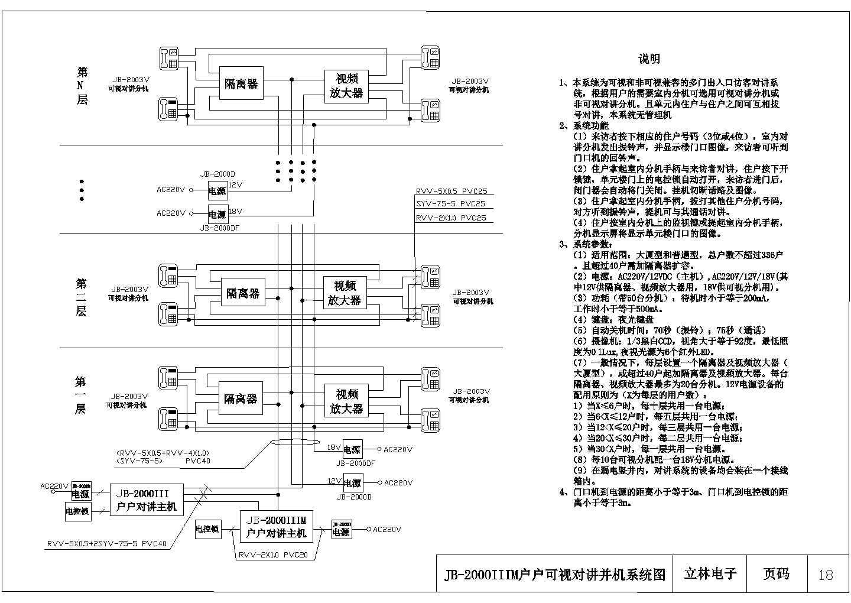 可视多机并机楼宇对讲系统设计cad图,共27张图片1
