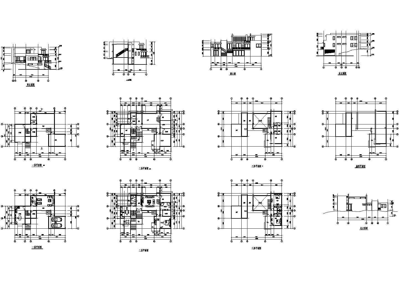 3层欧式别墅平立面设计建施cad图纸图片1