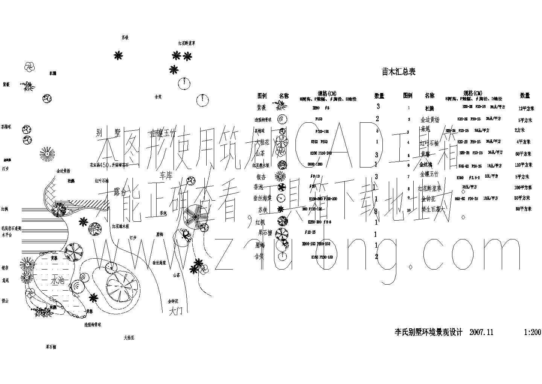 李氏别墅环境景观设计方案平面图图片1