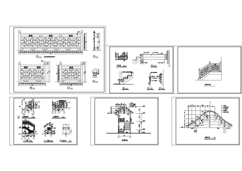 中式楼梯-书院御书楼楼梯详图CAD图图片1