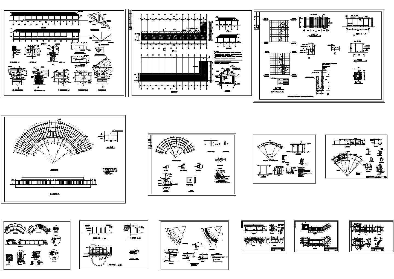 园林设计常用廊架、花架CAD建筑设计施工图图片1