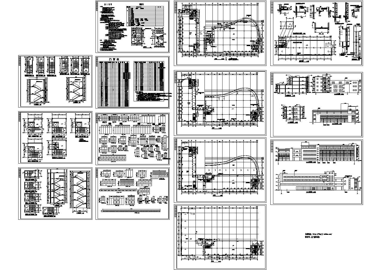 4层8753平米框架结构标准厂房建筑施工CAD设计图【平立剖 楼梯 门窗 节点 目录 说明】图片1