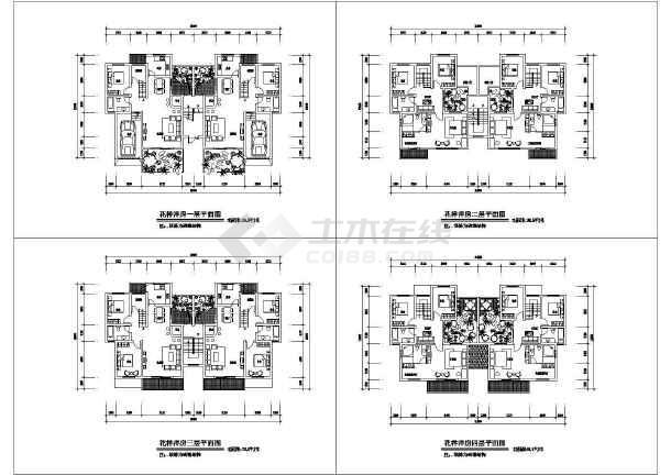 花样洋房四层住宅户型平面建筑施工cad图,共四张-图一