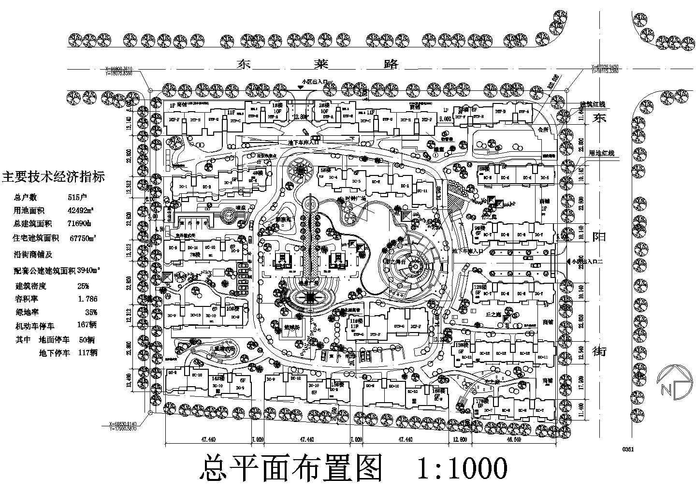 绿化小区详细规划设计CAD图纸图片1