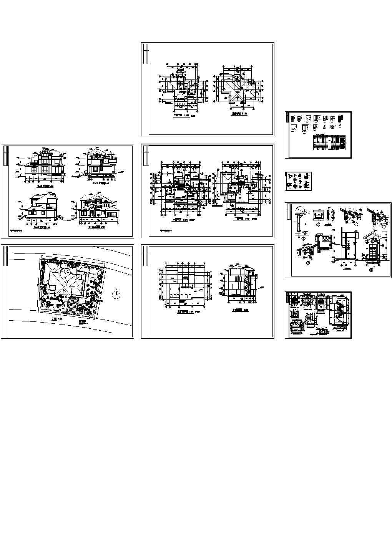 547平方米三层独栋花园别墅全套建筑施工图纸图片1
