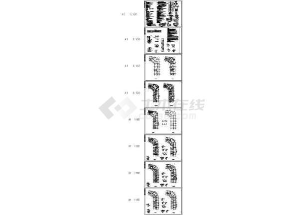 贵州某小区六层底框抗震墙结构住宅结构施工图-图一