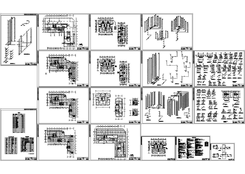 16层似L型商住楼全套给排水设计图(长64.19米 宽62.9米)图片1
