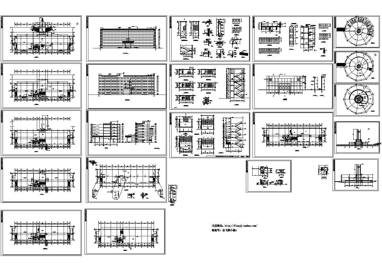 长72.24米 宽23.24米 6层实业公司办公楼、标志建筑、大门施工图图片1