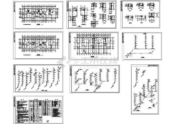 7层底商3单元住宅楼给排水设计图(长50米 宽17米)-图一