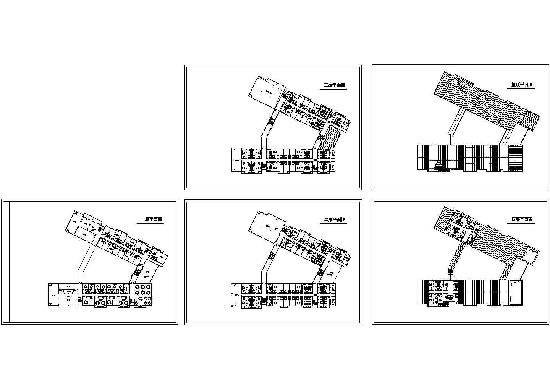 4层V形某酒店建筑各层CAD平面图图片1