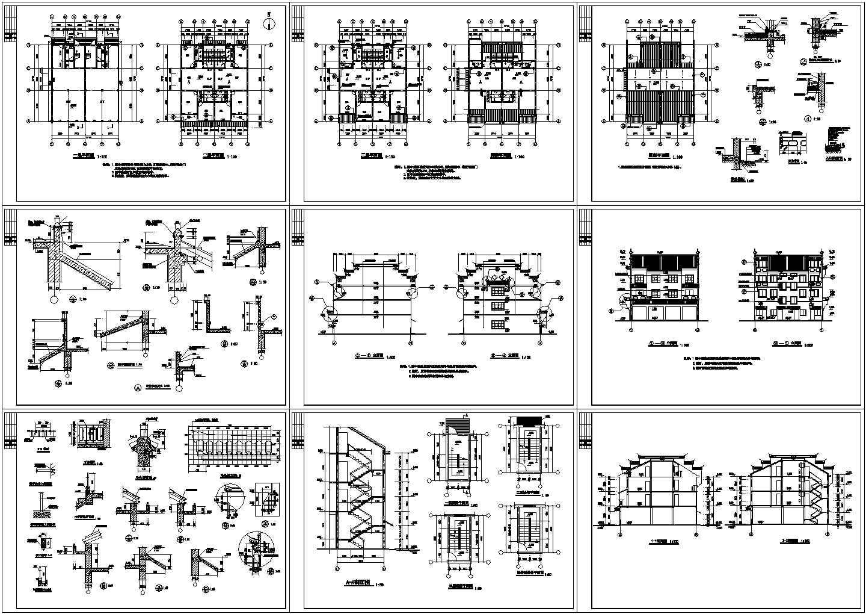 某徽派三层民居建筑设计施工图图片1