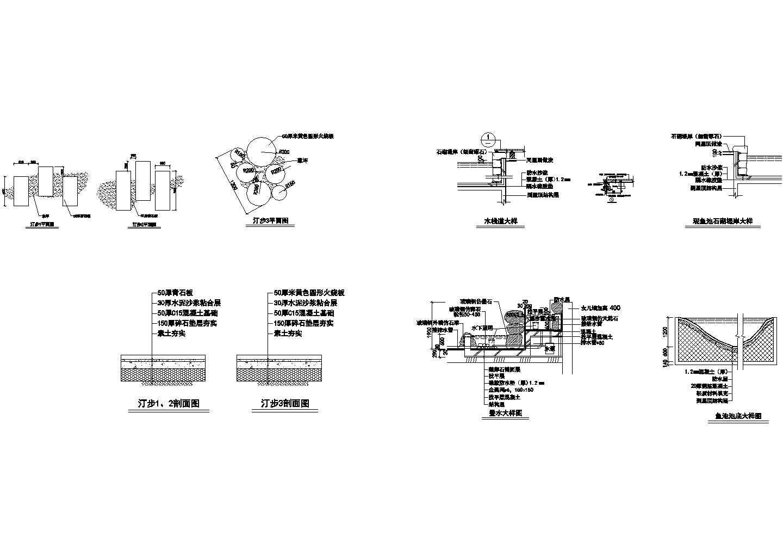 木栈道叠水CAD建筑设计施工图图片1