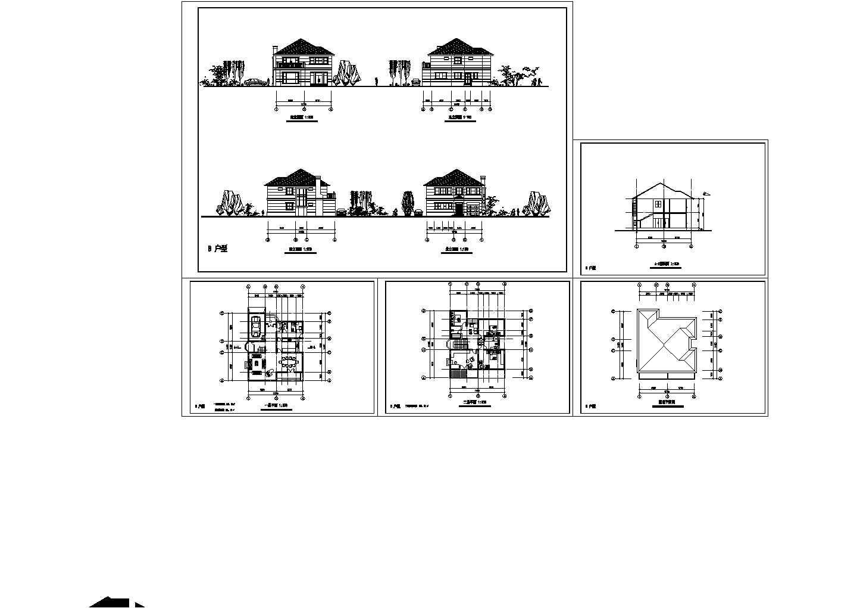 135.32平米二层小别墅建筑图纸(共5张)图片1