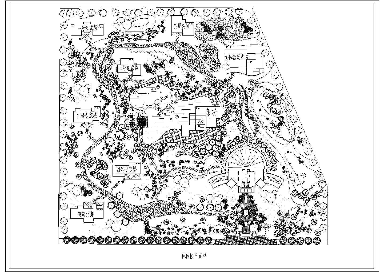 某休闲区园林规划平面设计cad,共1张图片1