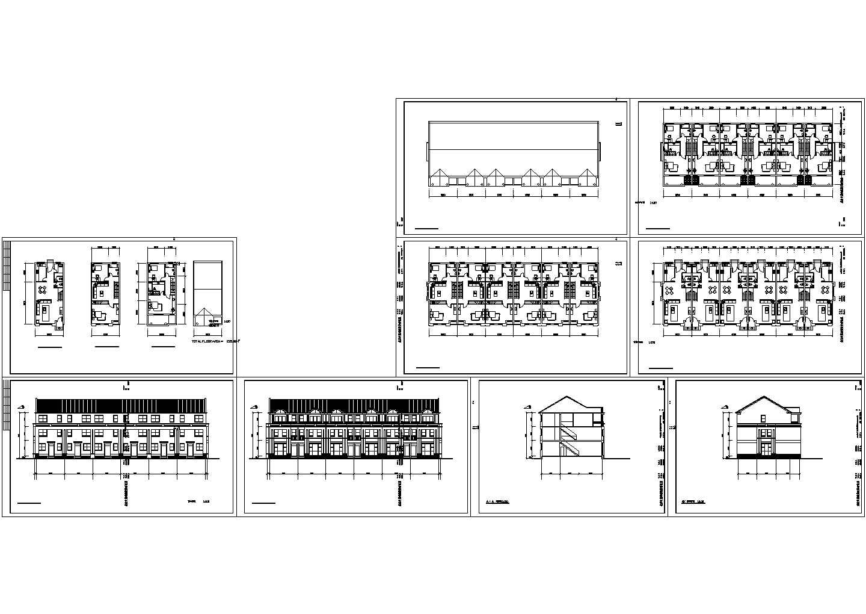 三层联排别墅建筑图纸(共9张)图片1