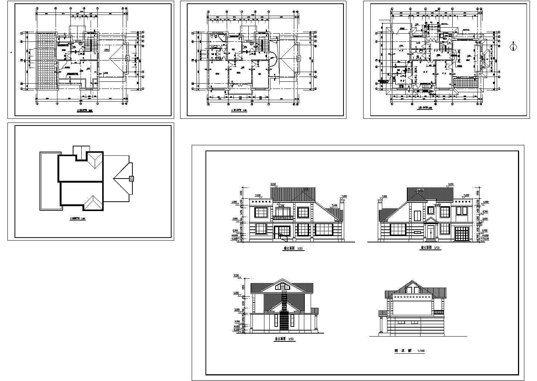 二层小别墅建筑图纸(共5张)图片1