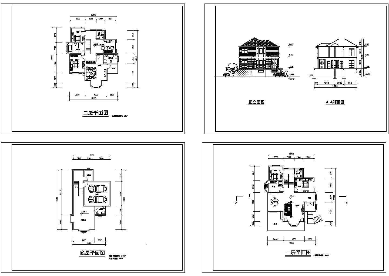 2层小型别墅住宅楼装修设计建施cad图,共四张图片1