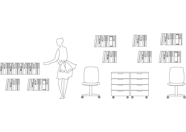 书柜设计侧立面图图片1