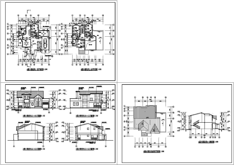 设计精准的两层现代风格别墅建筑设计CAD施工图图片1