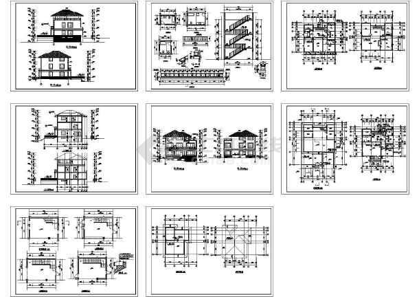 三层别墅平面建筑施工cad图,共八张-图一