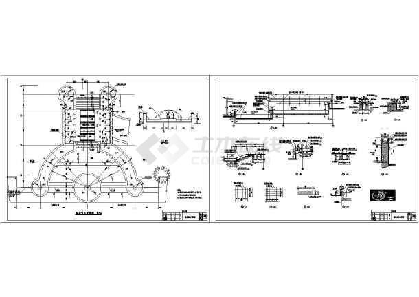 某园林景观喷泉景区设计cad施工图纸(含说明)-图一