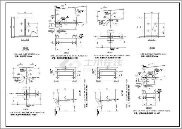 某66.8x60.8m带吊车的钢结构厂房结构设计施工图【34个CAD文件】-图二